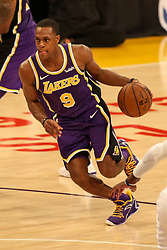 February 27, 2019 - Los Angeles, CA, U.S. - LOS ANGELES, CA - FEBRUARY 27: Los Angeles Lakers Guard Rajon Rondo (9) drives during second half of the New Orleans Pelicans versus Los Angeles Lakers game on February 27, 2019, at Staples Center in Los Angeles, CA. (Photo by Icon Sportswire) (Credit Image: © Icon Sportswire/Icon SMI via ZUMA Press)