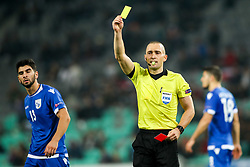 Referee Mads-Kristoffer Kristoffersen shows the red card during football match between National Teams of Slovenia and Cyprus in Final Tournament of UEFA Nations League 2019, on October 16, 2018 in SRC Stozice, Ljubljana, Slovenia. Photo by  Morgan Kristan / Sportida
