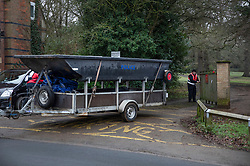 © Licensed to London News Pictures. 05/02/2019. Reading, UK. A police boat is towed from Whiteknights Campus at Reading University in Berkshire after a body was found in the search for missing student Daniel Williams. Daniel has been missing for five days. Photo credit: Peter Macdiarmid/LNP