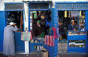 Shopfronts painted in the traditional blue of Essaouira