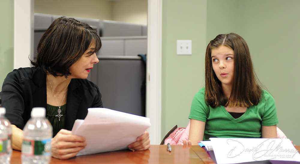 Lisa Stathoplos and Elle Shaheen rehearse for Harbor Light Stage's Bold Face Reading presentation of Off The Map