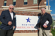 "Merrick, New York, USA. October 23, 2016. L-R, JOHN E. BROOKS, Democratic Party candidate for New York State Assembly District 14, and MIKE REID, Democratic Party Candidate for New York Legislature, attend environmental and civic groups' rally to demand public water and protest New York American Water's (""NYAW"") proposal to raise residents' water bills by 9.90%. Rally was held outside the New York American Water Headquarters."