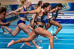 Nketia Seedo wins the 60 meter sprint, on the left Naomi Sedney, Marije van Hunenstijn and Nadine Visser at the Dutch Indoor Athletics Championship on February 22, 2020 in Omnisport De Voorwaarts, Apeldoorn