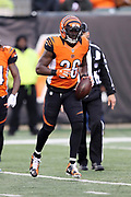Cincinnati Bengals strong safety Shawn Williams (36) runs with the ball after intercepting a fourth quarter pass during the 2016 NFL week 13 regular season football game against the Philadelphia Eagles on Sunday, Dec. 4, 2016 in Cincinnati. The Bengals won the game 32-14. (©Paul Anthony Spinelli)