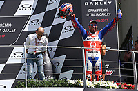 Danilo Petrucci of Italy and OCTO Pramac Racing third during the Moto GP Grand Prix at the Mugello race track on June 4, 2017 celebrates on the podium. <br /> MotoGP Italy Grand Prix 2017 at Autodromo del Mugello, Florence, Italy on 4th June 2017. <br /> Photo by Danilo D'Auria.<br /> <br /> Danilo D'Auria/UK Sports Pics Ltd/Alterphotos