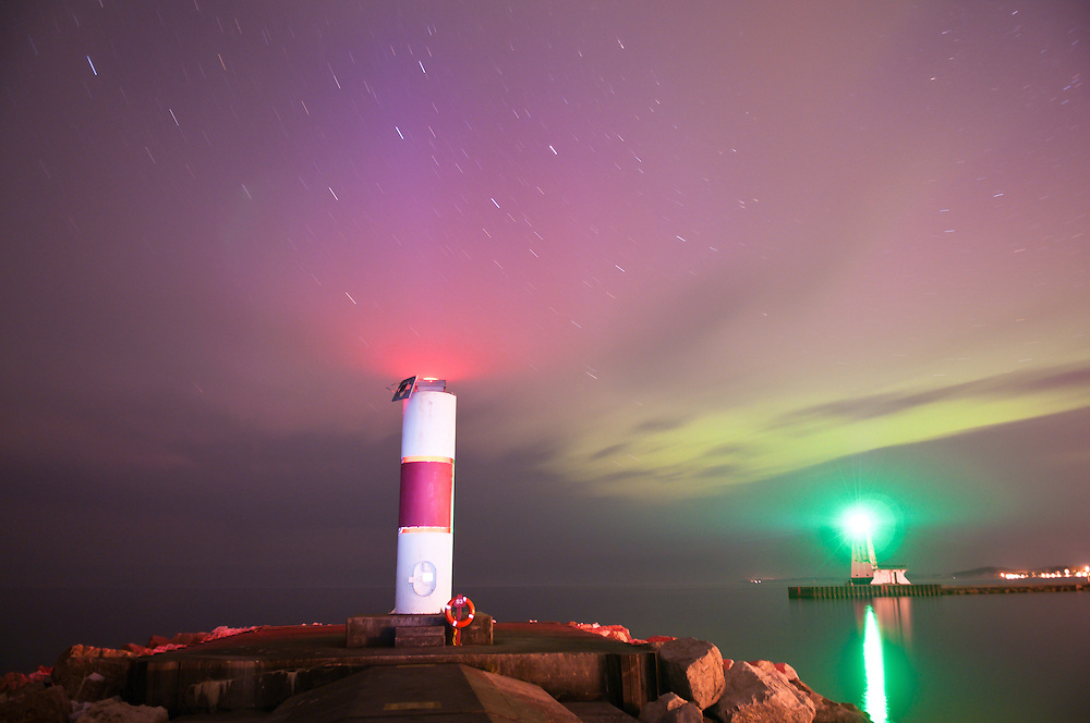 Northern Lights over the skies of Ludington, Michigan