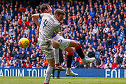 Penalty! - Nikola Katic of Rangers FC cats man handled by Andrew Considine of Aberdeen FC during the Ladbrokes Scottish Premiership match between Rangers and Aberdeen at Ibrox, Glasgow, Scotland on 27 April 2019.