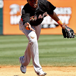 March 26, 2012; Lakeland, FL, USA; Miami Marlins shortstop Jose Reyes (7) runs drills before a spring training game against the Detroit Tigers at Joker Marchant Stadium. Mandatory Credit: Derick E. Hingle-US PRESSWIRE