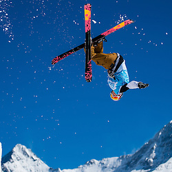 A competitioner at  the Withestyle Open ski and snowboard contest in Muerren, Switzerland, 08. March 2014.