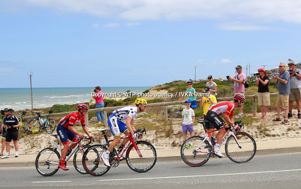 2015 Santos Tour Down Under. Adelaide. Australia. 24.1.2015.  Stage 5. Mc Laren Vale to Willunga Hill.151.5km.<br /> #46, HENDERSON Gregory, New Zealand, #181 Jack BOBRIDGE (AUS) Team UNISA (AUS) later wins King of the mountain trophy, #176   KERBY Jordan, AUS, <br /> Tour Down Under Australia 2015, Cycling, road race, Radrennen, Australien -  Radsport - Rad Rennen -<br /> - fee liable image: copyright &copy; ATP - IVKA Damir