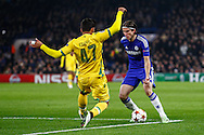 Filipe Luis of Chelsea is about to be fouled  by Ricardo Esgaio of Sporting Clube de Portugal leading to a penalty and Chelsea's opening goal during the UEFA Champions League match at Stamford Bridge, London<br /> Picture by David Horn/Focus Images Ltd +44 7545 970036<br /> 10/12/2014