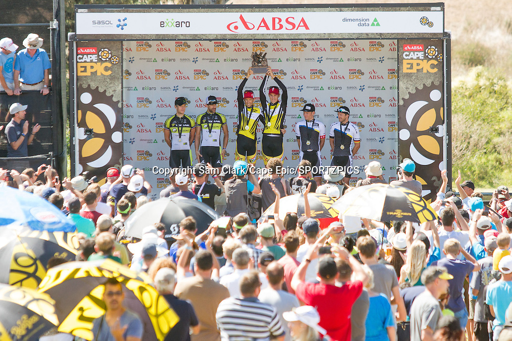 (LtoR) Kristian Hynek, Alban Lakata (3rd) Christoph Sauser, Jaroslav Kulhavy(1st) Urs Huber, Karl Platt(2nd) overall for the 2015 Absa Cape Epic Mountain Bike stage race, South Africa on the 22 March 2015<br /> <br /> Photo by Sam Clark/Cape Epic/SPORTZPICS<br /> <br /> PLEASE ENSURE THE APPROPRIATE CREDIT IS GIVEN TO THE PHOTOGRAPHER AND SPORTZPICS ALONG WITH THE ABSA CAPE EPIC