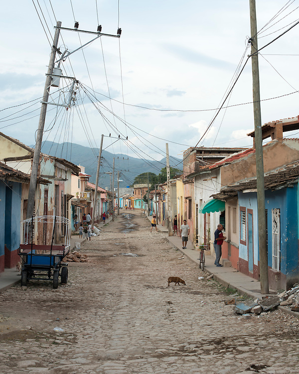 Typical street in Trinidad, cobbled street , colored walls that make the charm of this city listed as a UNESCO World Heritage
