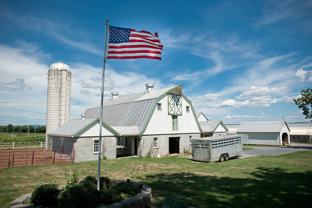 American flag waving in front of barn on a dairy farm