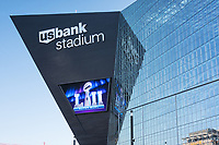 Minneapolis, MN - January 27, 2017: Angled architecture of US Bank Stadium exterior depicting graphics advertising the upcoming SuperBowl LII events taking place in Minneapolis, Minnesota. The big game will be held at the stadium on Feb 4, 2018 with the Philadelphia Eagles playing the New England Patriots.