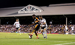 Rolando Aarons of Newcastle United holds off Michael Madl of Fulham during the first fixture of the Sky Bet Championship season at Craven Cottage - Mandatory by-line: Robbie Stephenson/JMP - 05/08/2016 - FOOTBALL - Craven Cottage - Fulham, England - Fulham v Newcastle United - Sky Bet Championship