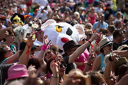 © Licensed to London News Pictures . 08/08/2015 . Siddington , UK . Danger Mouse in the crowd at The Rewind Festival of 1980s music , fashion and culture at Capesthorne Hall in Macclesfield . Photo credit: Joel Goodman/LNP