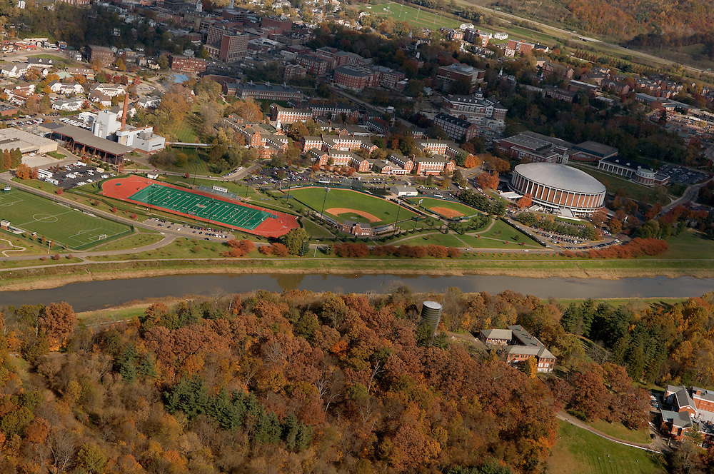 Aerial view of Ohio University and the Hocking River. © Ohio University.