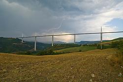 Tarn, France, Millau bridge, thunderstrike