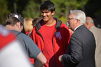 Chancellor Randy Woodson chats with students during the Campus Celebration on Stafford Commons.