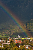 Rainbow over the Mystery Park in the Alps, Interlaken, Berner Oberland, Switzerland.