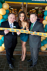 Repro Free: .Top model Rozanna Purcell is pictured cutting the ribbon at the opening of the new Dealz store in Dundrum making this the nineteenth Dealz store to open to date, pictured with Johnny Brennan, Store Manager (left) and Brendan Doyle, Business Manager, Dealz Ireland. Pic Andres Poveda..Dealz Dundrum, situated at Unit G12, Dundrum Village Centre, Dundrum, Dublin 16, is creating 30 jobs in the Dundrum area, bringing the total number of jobs created in Ireland to over 540. ..The new store has over 5,941 sq ft of retail space and offers customers a wide range of branded products from health and beauty, food and drink to clothing accessories. Dealz is proudly supporting Irish suppliers and are stocking a range of products produced in Ireland, such as milk, eggs, crisps and cakes...Commenting at the new store opening, Dealz Senior Business Manager Leonard Brassel said:  ?We are very excited to be expanding the Dealz portfolio in Ireland with the opening of our new store in Dundrum today. The new store in Dundrum is the nineteenth Dealz store to open in Ireland and has created 30 new jobs for the Dublin area. Dealz is committed to bringing amazing value every day to customers and we are looking forward to expanding further across the Republic of Ireland. Dealz Dundrum will offer customers everything they need including great seasonal ranges for Back to School and Halloween.?..ENDS..For further information, please contact:.Suzanne Cairns and Ciara O' Connell, WHPR, 01 6690030.086 8945635 (SC) and 087 6260244 (CO'C).suzanne.cairns@ogilvy.com / ciara.o'connell@ogilvy.com.