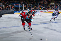 KELOWNA, CANADA - OCTOBER 27: Nolan Foote #29 of the Kelowna Rockets skates with the puck against the Tri-City Americans during second period on October 27, 2017 at Prospera Place in Kelowna, British Columbia, Canada.  (Photo by Marissa Baecker/Shoot the Breeze)  *** Local Caption ***