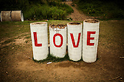 Word love painted in red letters on palm tree trunks, Red River area, Hanoi, Vietnam, Southeast Asia