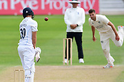 Matt Critchley of Derbyshire evading a ball from Tom Barber during the Bob Willis Trophy match between Nottinghamshire County Cricket Club and Derbyshire County Cricket Club at Trent Bridge, Nottingham, United Kingdon on 4 August 2020.