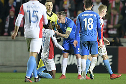 February 14, 2019 - Prague, CZECH REPUBLIC - Slavia's Peter Olayinka and Genk's Sebastien Dewaest pictured during a soccer game between Czech club SK Slavia Praha and Belgian team KRC Genk, the first leg of the 1/16 finals (round of 32) in the Europa League competition, Thursday 14 February 2019 in Prague, Czech Republic. BELGA PHOTO YORICK JANSENS (Credit Image: © Yorick Jansens/Belga via ZUMA Press)