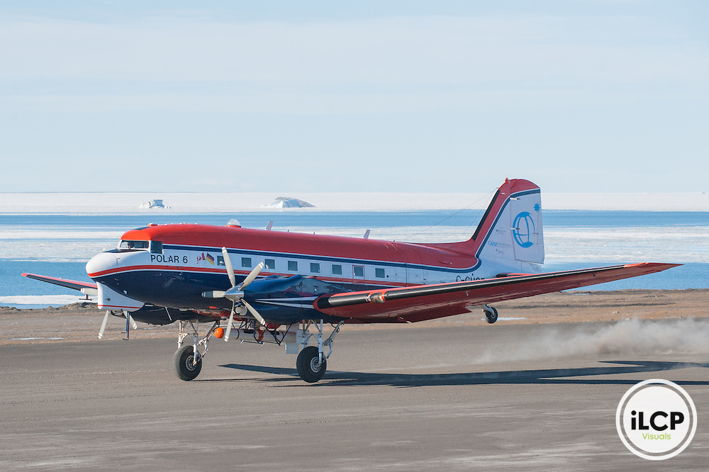 Polar 6 research airplane of Alfred Wegener Institute for Marine and Polar Research, lands at Station Nord, Greenland, DK. Station Nord, August 2, 2016, Esther Horvath / iLCP