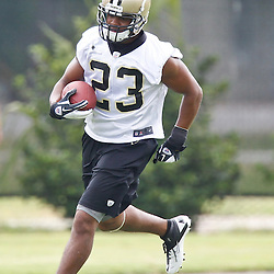 May 31, 2012; Metairie, LA, USA; New Orleans Saints running back Pierre Thomas (23) during organized team activities at the team's practice facility. Mandatory Credit: Derick E. Hingle-US PRESSWIRE