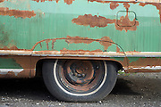 detail of an old rusty big American car