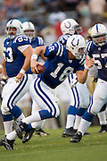 JACKSON, MS - AUGUST 26:  Quarterback Peyton Manning of the Indianapolis Colts runs with the ball against the New Orleans Saints on August 26, 2006 at Veterans Memorial Field in Jackson, Mississippi.  The Colts won 27 to 14.  (Photo by Wesley Hitt/Getty Images) *** Local Caption *** Peyton Manning