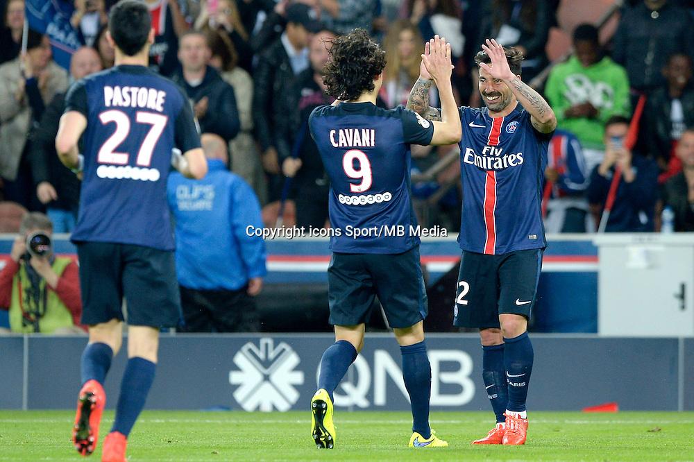 joie PSG / Ezequiel Lavezzi / Edinson Cavani - 23.05.2015 - PSG / Reims - 38eme journee de Ligue 1<br /> Photo : Andre Ferreira / Icon Sport