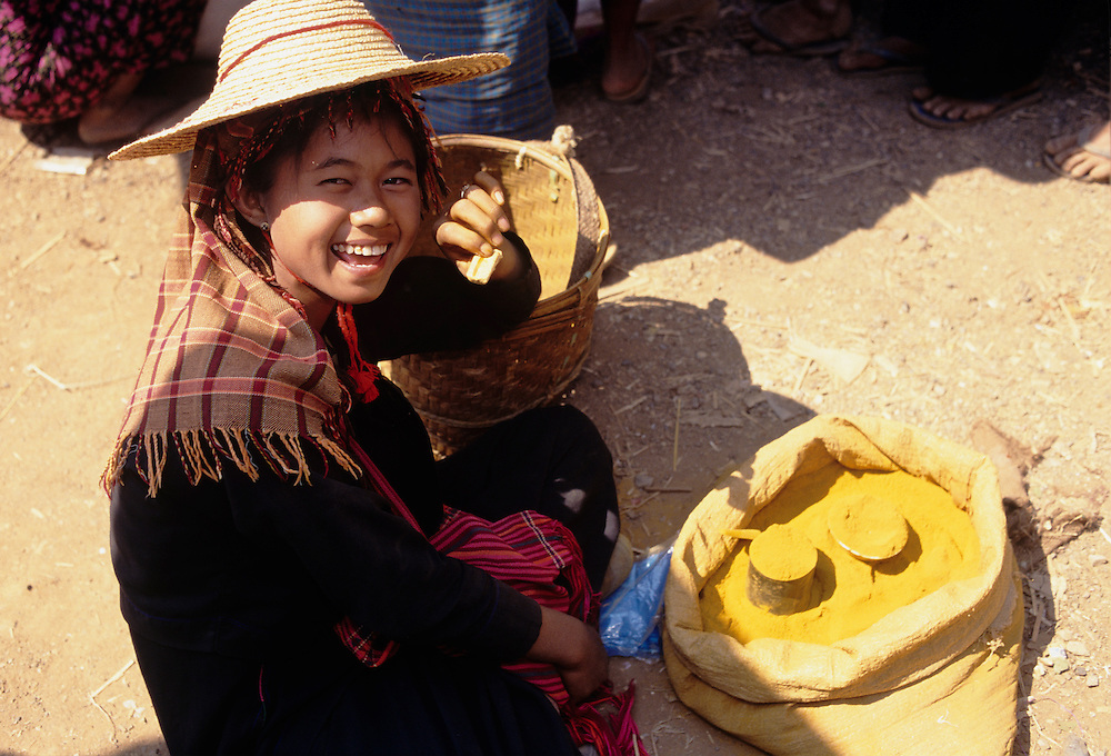 Female vendor at market, Heho Cattle auction and market, Shan State, Myanmar