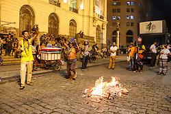 May 24, 2017 - Rio De Janeiro, Brazil - Protesters protest against the government of President Michel Temer in downtown Rio de Janeiro, on May 24, 2017. (Credit Image: © Luiz Souza/NurPhoto via ZUMA Press)