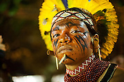 Pataxó warrior, from Bahia State, during the Indigenous National Party 2007.