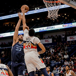 Jan 7, 2019; New Orleans, LA, USA; New Orleans Pelicans forward Anthony Davis (23) blocks a shot by Memphis Grizzlies center Marc Gasol (33) during the first quarter at the Smoothie King Center. Mandatory Credit: Derick E. Hingle-USA TODAY Sports