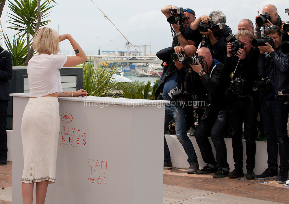 Actress Kristen Stewart facing photofraphers at the Café Society film photo call at the 69th Cannes Film Festival Wednesday 11th May 2016, Cannes, France. Photography: Doreen Kennedy