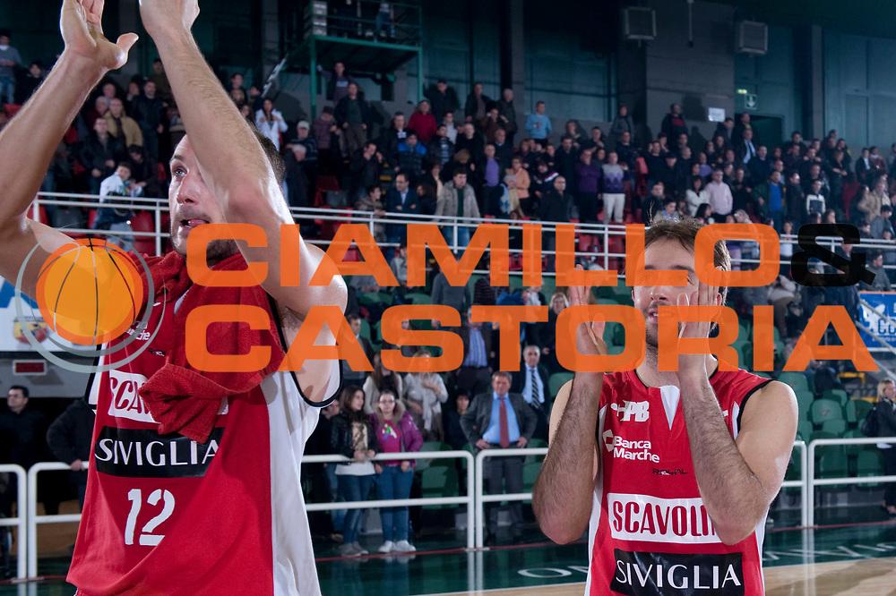 DESCRIZIONE : Avellino Lega A 2011-12 Sidigas Avellino Scavolini Siviglia Pesaro<br /> GIOCATORE : Marco Cusin Daniele Cavaliero<br /> SQUADRA : Scavolini Siviglia Pesaro<br /> EVENTO : Campionato Lega A 2011-2012<br /> GARA : Sidigas Avellino Scavolini Siviglia Pesaro<br /> DATA : 17/03/2012<br /> CATEGORIA : esultanza<br /> SPORT : Pallacanestro<br /> AUTORE : Agenzia Ciamillo-Castoria/G.Buco<br /> Galleria : Lega Basket A 2011-2012<br /> Fotonotizia : Avellino Lega A 2011-12 Sidigas Avellino Scavolini Siviglia Pesaro<br /> Predefinita :