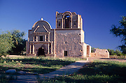 Front of Tumacacori Mission with sidewalk in foreground, Tumacacori, Arizona...Rights & Usage:.No rights granted. Subject photograph(s) are copyrighted by Edward McCain/McCain Photography. All rights are reserved except those specifically granted in writing prior to any use...McCain Photography.211 S 4th Avenue.Tucson, AZ 85701-2103.(520) 623-1998.mobile: (520) 990-0999.fax: (520) 623-1190.http://www.mccainphoto.com.edward@mccainphoto.com