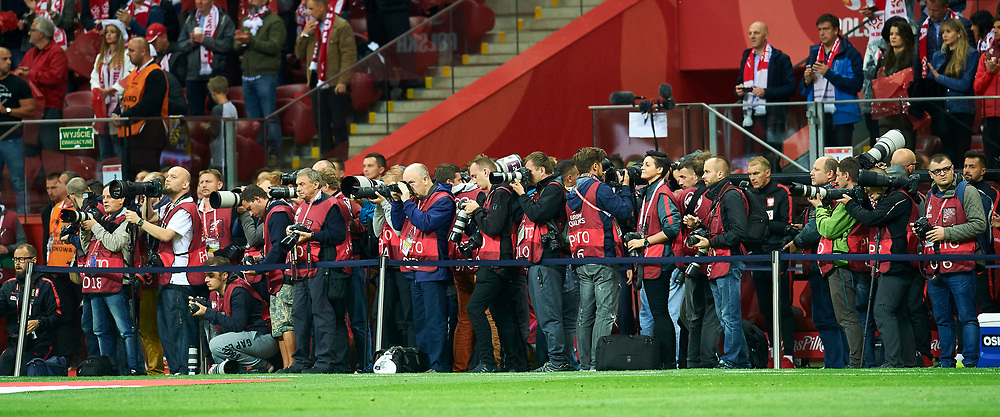 Warsaw, Poland - 2017 September 04: Photographers Lukasz Grochala and Tomasz Jedrzejowski and Ryszard Rogalski among others work during soccer match Poland v Kazakhstan - FIFA 2018 World Cup Qualifier at PGE National Stadium on September 04, 2017 in Warsaw, Poland.<br /> <br /> Adam Nurkiewicz declares that he has no rights to the image of people at the photographs of his authorship.<br /> <br /> Picture also available in RAW (NEF) or TIFF format on special request.<br /> <br /> Any editorial, commercial or promotional use requires written permission from the author of image.<br /> <br /> Mandatory credit:<br /> Photo by &copy; Adam Nurkiewicz / Mediasport
