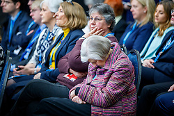 © Licensed to London News Pictures. 17/03/2017. Cardiff, UK. A person falls asleep during Education Secretary Justine Greening's speech at Conservative Spring Forum in Cardiff, Wales on 17 March 2017. Photo credit: Tolga Akmen/LNP