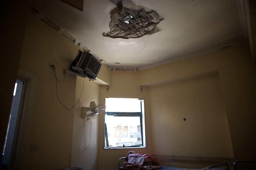 August 14, 2012 - Aleppo, Syria: A destroyed room at a local hospital in Tariq Al-Bab neighborhood in central Aleppo. The Syrian Army have in the past ten days increased their attacks on residential neighborhoods where Free Syria Army rebel fights have their positions in Syria's commercial capital, Aleppo. (Paulo Nunes dos Santos/Polaris)