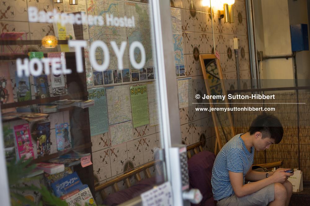 Hotel Toyo, a cheap hotel for backpackers, near Shinsekai district, in Osaka, Kansai region, Japan, Wednesday 13th June 2012.
