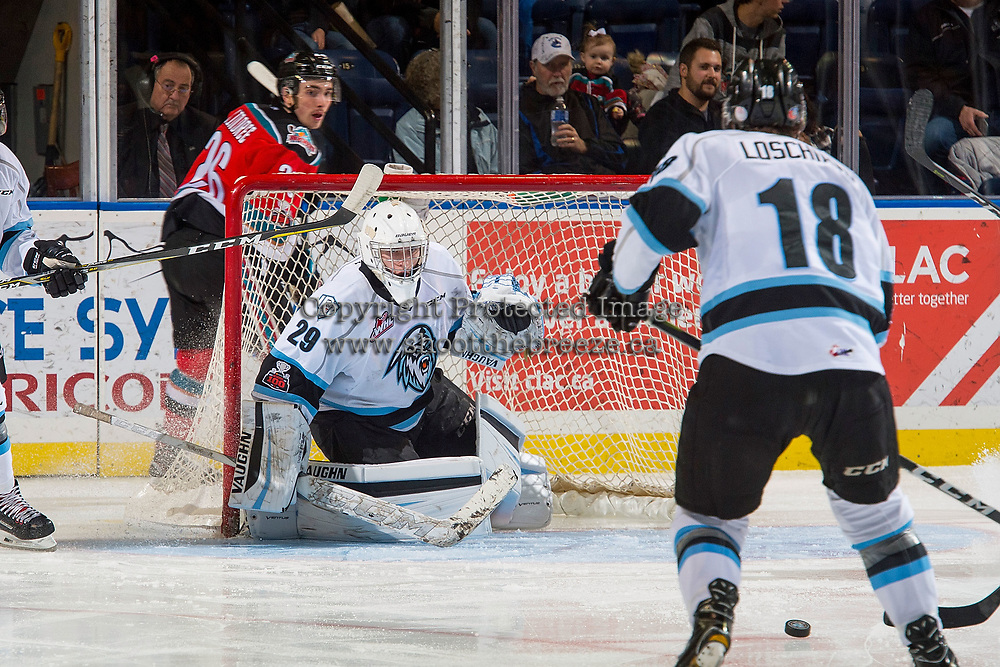 KELOWNA, CANADA - DECEMBER 2: Bailey Brkin #29 of the Kootenay Ice defends the net and keeps his eye on the puck against the Kelowna Rockets on December 2, 2017 at Prospera Place in Kelowna, British Columbia, Canada.  (Photo by Marissa Baecker/Shoot the Breeze)  *** Local Caption ***