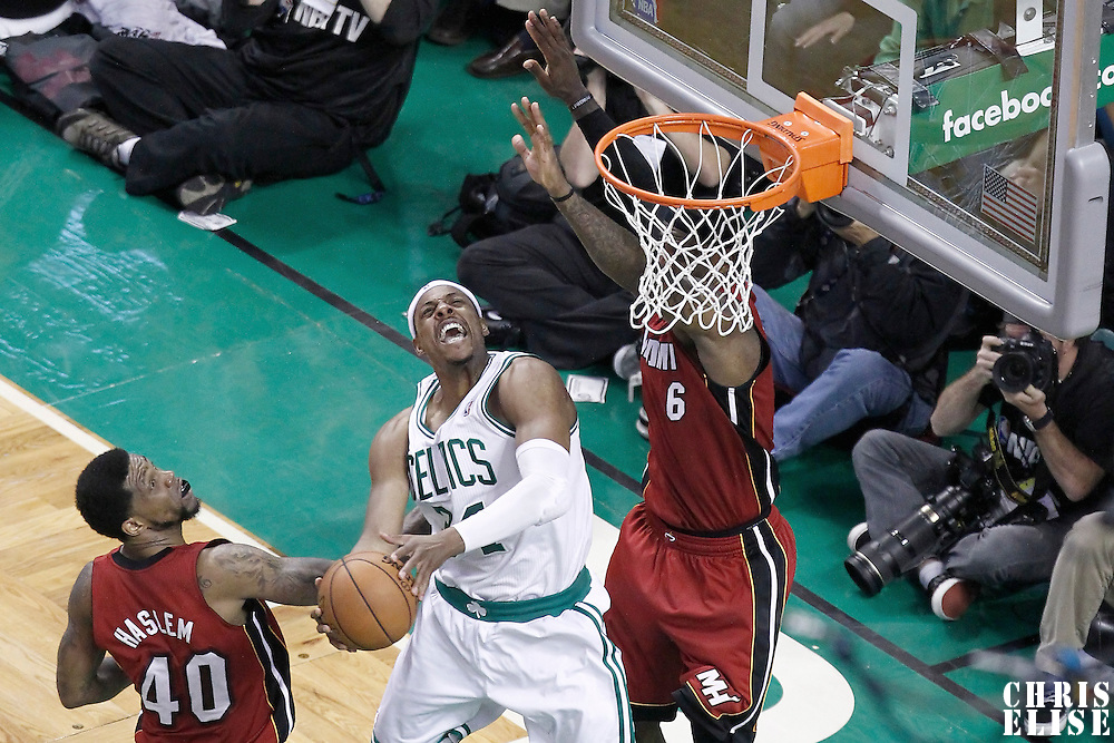 07 June 2012: Boston Celtics small forward Paul Pierce (34) goes to the basket against Miami Heat small forward LeBron James (6) during the Miami Heat 98-79 victory over the Boston Celtics, in Game 6 of the Eastern Conference Finals playoff series, at the TD Banknorth Garden, Boston, Massachusetts, USA.