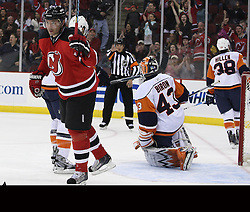 Apr 10, 2010; Newark, NJ, USA; New Jersey Devils left wing Ilya Kovalchuk (17) celebrates his goal during the third period at the Prudential Center. The Devils defeated the Islanders 7-1.