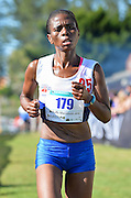 EAST LONDON, SOUTH AFRICA - FEBRUARY 20: Bulelwa Simae of Western Province finishes the race during the ASA Marathon Championships in East London on February 20, 2015 in South Africa. (Photo by Roger Sedres/Gallo Images)